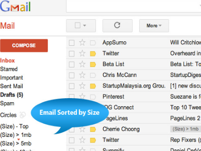 Sort Gmail by Size - Google Script