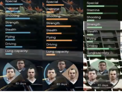 Grand Theft Auto V Character Stats
